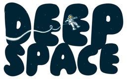 Głębokiej przestrzeni słowa z rekonesansowym astronauta Zdjęcie Royalty Free