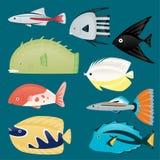 Głębokiej wody morskiej ryba denny tropikalny nadwodny set royalty ilustracja