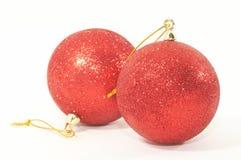głębokość ornamentów świąteczne drzewko dwie płytki Zdjęcia Stock