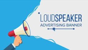Głośnik W ręka wektorze Marketingowy znak, Reklamuje pojęcie socjalny marketingowy medialny Płaska kreskówki ilustracja Fotografia Stock