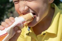 Głodna chłopiec je hot dog w parku, zamyka w górę widoku obraz stock
