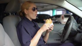 Głodny kobieta policjanta łasowania hamburgeru obsiadanie w samochodzie policyjnym w parking, szybkie żarcie zbiory
