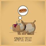 Głodny pies. Wektorowa ilustracja. Zdjęcia Stock