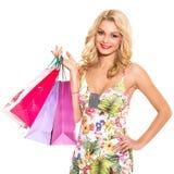 głos Piękna blondynka w ślicznej sukni zdjęcie royalty free