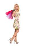 głos Piękna blondynka w ślicznej sukni fotografia royalty free