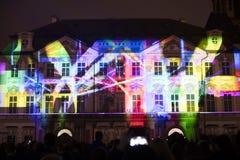 Głos postaci lekki videomapping przy Starym miasteczko kwadratem w Praga podczas Sygnałowego światła festiwalu 2016 Zdjęcie Royalty Free