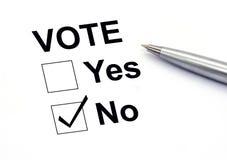Głosować żadny pudełko Obraz Royalty Free