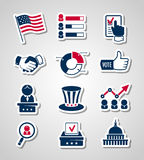 Głosować i wybory tapetujemy rżnięte ikony Zdjęcia Royalty Free