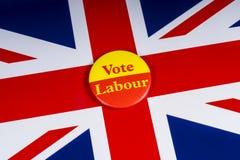 Głosowanie pracy odznaka i UK flaga zdjęcie stock