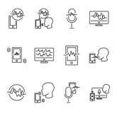 Głosu rozpoznania kolekci wektorowy ilustracyjny set Technologia cyfrowa komunikacja i opowiadać Podpis i mądrze ID royalty ilustracja