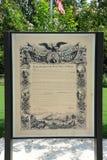 Głoszenie Emancypacyjny eksponat przy wolność parkiem, Helena Arkansas fotografia stock