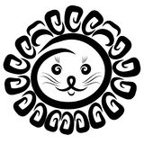 Głowa śmieszny lew z kreatywnie grzywą ilustracji