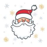 Głowa Święty Mikołaj tło płatek śniegu royalty ilustracja
