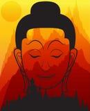 Głowa Buddha na halnym wektorze royalty ilustracja