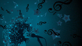 Głowa kobieta z włosy jako Muzykalni symbole royalty ilustracja