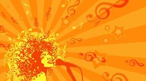 Głowa kobieta z włosy jako Muzykalni symbole na a ilustracja wektor