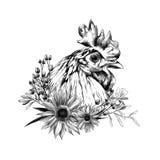 Głowa kogut w profilu z wiankiem w postaci ramy słoneczników liście i sucha trawa spod spodu ilustracji