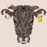 Głowa krowa z abstrakcjonistycznymi cięciami Obraz Royalty Free