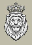 Głowa lew z koroną Zdjęcia Royalty Free