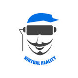 Głowa mężczyzna w hełmie rzeczywistość wirtualna Fotografia Royalty Free
