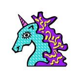 Głowa magiczna jednorożec Jednorożec dla zaproszenie karty, bilet, oznakuje, etykietka Jednorożec dla logotypu Obraz Royalty Free