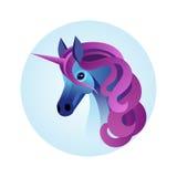 Głowa magiczna jednorożec Pocztówka, logo, ikona Fotografia Royalty Free