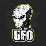 Głowa obcy i strefa UFO ilustracji