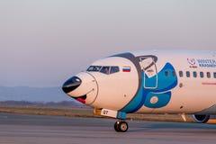 Głowa pasażer samolotu odrzutowego samolot Boeing 737-800 NordStar linie lotnicze na pasie startowym Kadłub maluje jako psi Syber obraz stock
