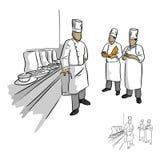 Głowa szef kuchni i jego personel w jednolitym wektorowym ilustracyjnym nakreśleniu Obraz Stock