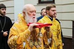 Głowa Ukraiński Ortodoksalny kościół Kijowski patriarchat, patriarcha Filaret uświęcać kościół w Dnepropetrovsk obrazy royalty free