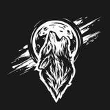 Głowa wilk na księżyc tle Obrazy Royalty Free