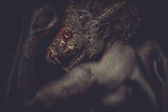 Głowiaści mężczyzna i robota potwora pojęcia koszmary Obrazy Stock
