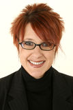 głowiasta czerwona uśmiechnięta kobieta Obraz Stock