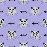 G?owy u?miechni?ty kot i ko?cowie ryba ?mieszny deseniowy bezszwowy r?wnie? zwr?ci? corel ilustracji wektora ilustracja wektor