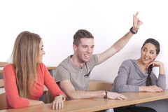 Głupek stawia up jego rękę Fotografia Stock