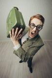 Głupka biznesmena krzyczeć gniewny Obraz Stock