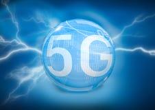 5G在数字式背景的标志 库存图片