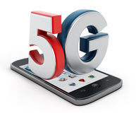 5G在智能手机的文本 免版税库存图片