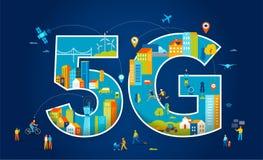 5G平的传染媒介例证 有移动设备的人们在聪明的城市 库存例证