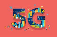 5G平的传染媒介例证 有移动设备的人们在聪明的城市 向量例证
