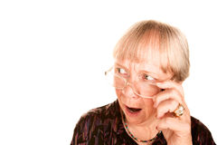 g查找在高级震惊顶部妇女的她 免版税库存图片