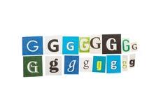 G被设置的题字信件 免版税库存照片