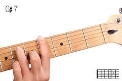 G锋利的统治第七个吉他弦讲解 库存照片