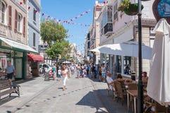 Główna Ulica w Gibraltar centrum miasta Zdjęcia Stock