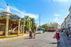 Głównego placu widok w Antibes starym miasteczku, Francja Obrazy Royalty Free