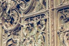 Główny drzwi katedra Mediolan Obraz Stock