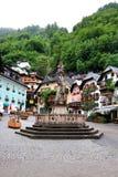 Główny Plac Hallstatt wioska w Austria Obraz Royalty Free