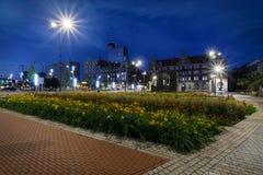 Główny plac Katowicki w wieczór Obrazy Royalty Free