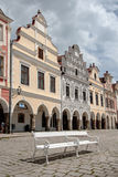 Główny plac w Telc, UNESCO miasto w republika czech Obraz Royalty Free
