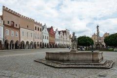 Główny plac w Telc, UNESCO miasto w republika czech Obrazy Stock
